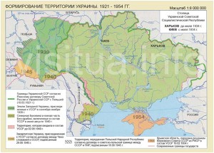 Карта Украины 1921-1954 гг.